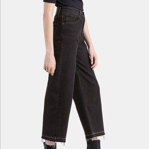 Levi's Mile High Wide Leg Cropped Raw Hem Jeans